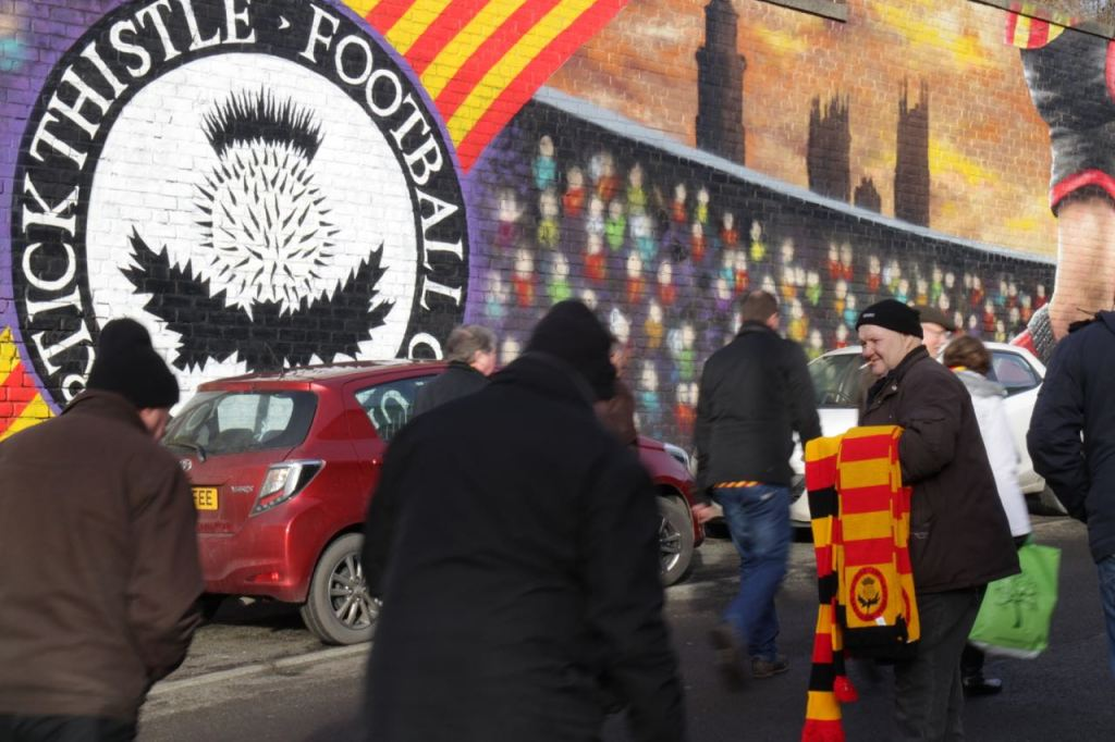 Partick-Thistle-mural-and-scarf-seller-1